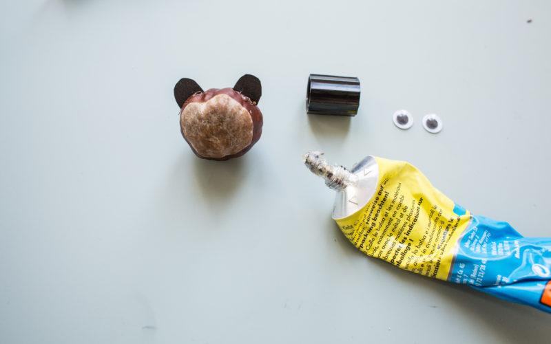 Kastanientiere basteln – Ohren, Augen des Bärs befestigen und Gesicht aufmalen