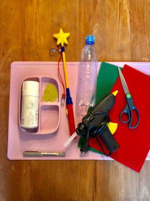 Laternen-DIY - Materialien gesammelt auf Bastelunterlage